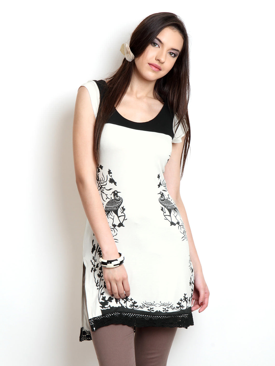Black And White Peacock Print And Black Lace Kurti