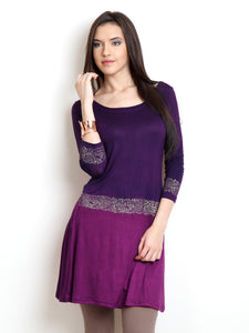 Dip Dyed Short Kurti With Gold Print On Hip And Sleeves