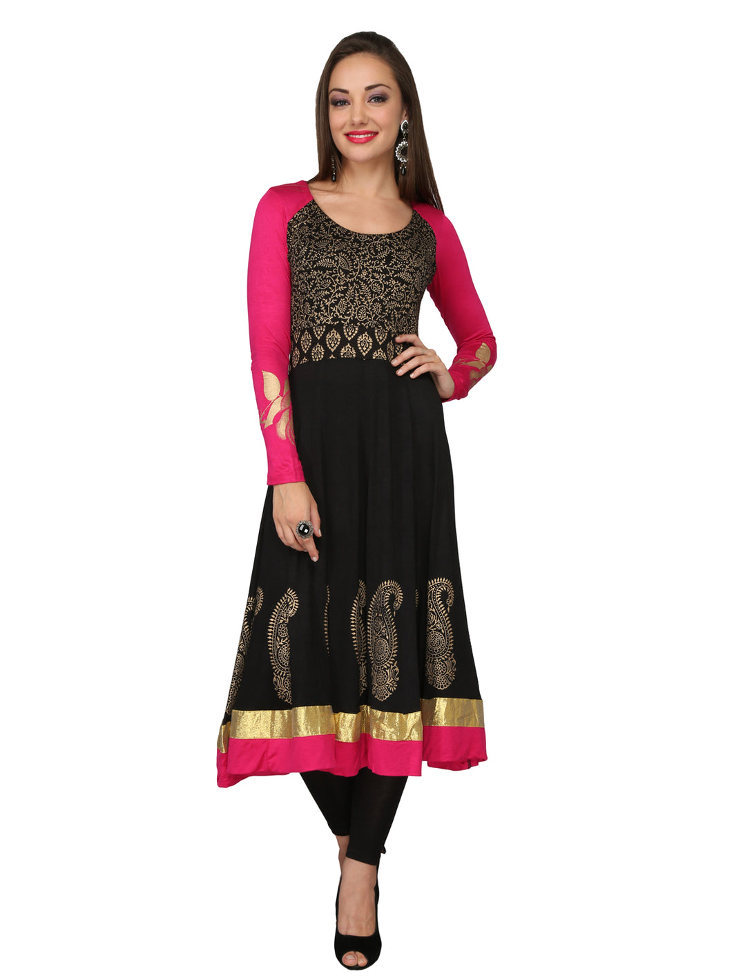 Gold Printed Anarkali With Contrast Sleeves