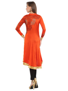 High Low Stretch Anarkali With Tatoo Print And Lace