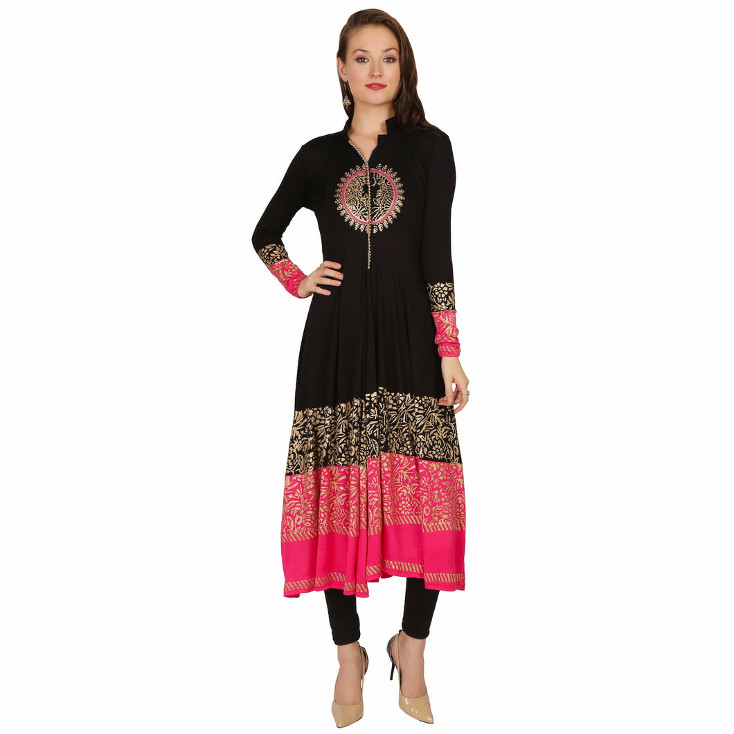 Long Sleeve Anarkali In Black And Pink With Gold Print And Bead Lace
