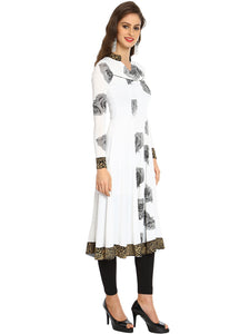 White And Black Rose Printed Stretch Anarkali With Animal Gold Print Trim