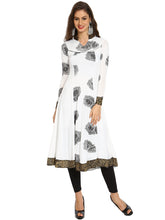 Load image into Gallery viewer, White And Black Rose Printed Stretch Anarkali With Animal Gold Print Trim