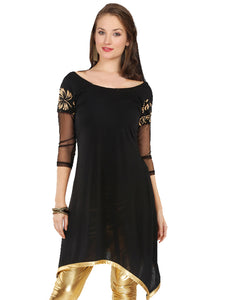ASYMETRICAL HEM SHORT KURTI WITH NET SLEEVES