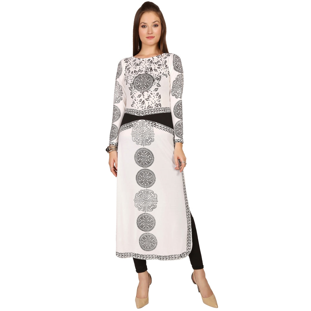 Long Slv, Calf Length Engineered Print Straight Kurti