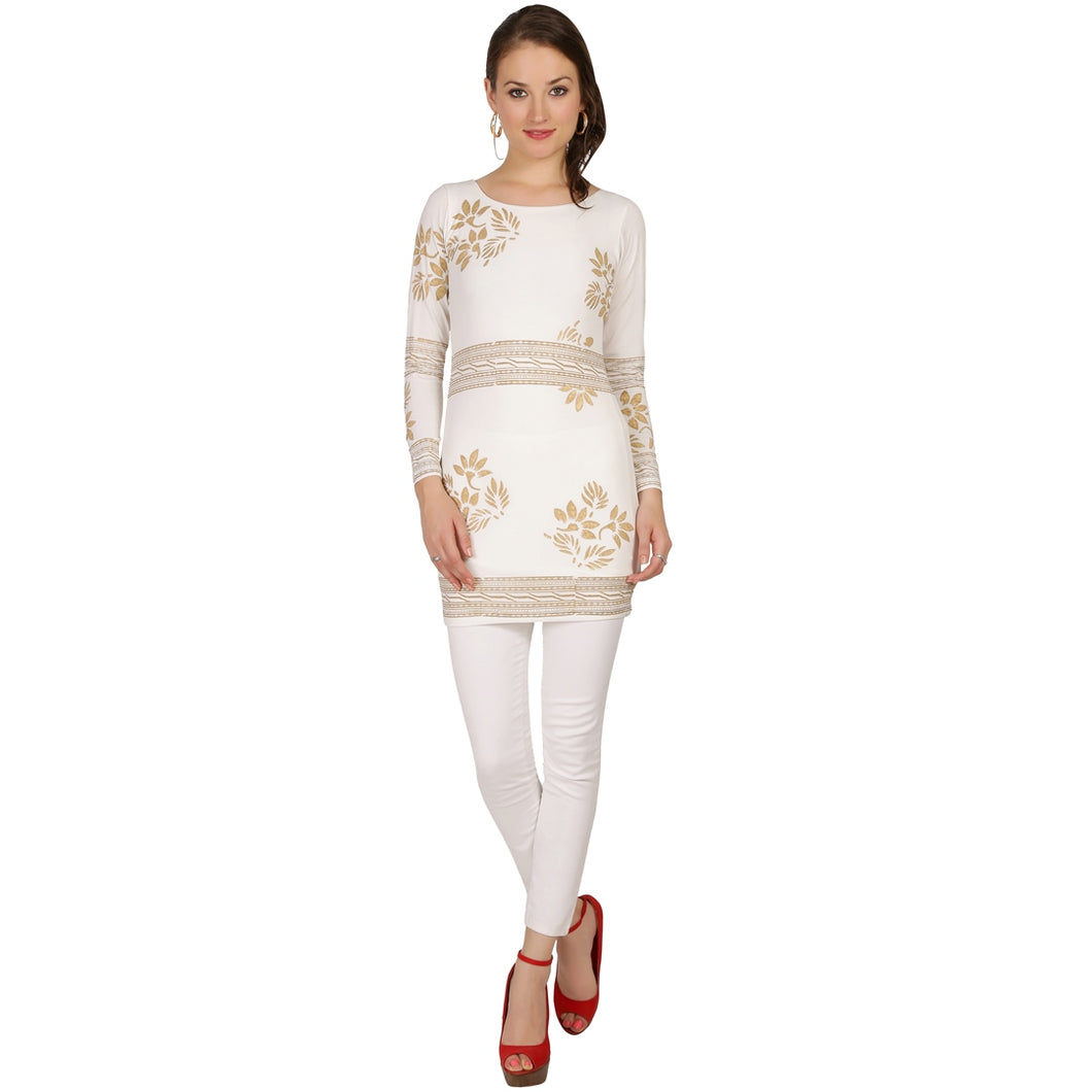 Short Fully Lined Kurti With Gold Print