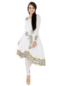 White And Gold High Low Stretch Anarkali