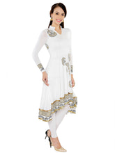 Load image into Gallery viewer, White And Gold High Low Stretch Anarkali