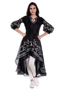 High Low Anarkali With Silver Print And Damonte Latkan Puff Sleeves