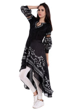Load image into Gallery viewer, High Low Anarkali With Silver Print And Damonte Latkan Puff Sleeves