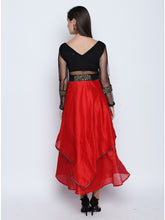 Load image into Gallery viewer, Stretch Knit And Non Stretch Dupion Skirt Anarkali With Net Sleeves And Lace Sequins Trim