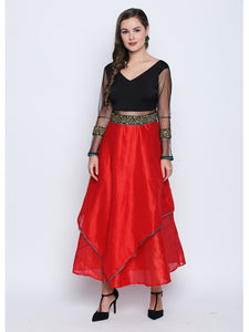 Stretch Knit And Non Stretch Dupion Skirt Anarkali With Net Sleeves And Lace Sequins Trim