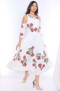 Cold Shoulder Anarkali With Tulip Flower Print
