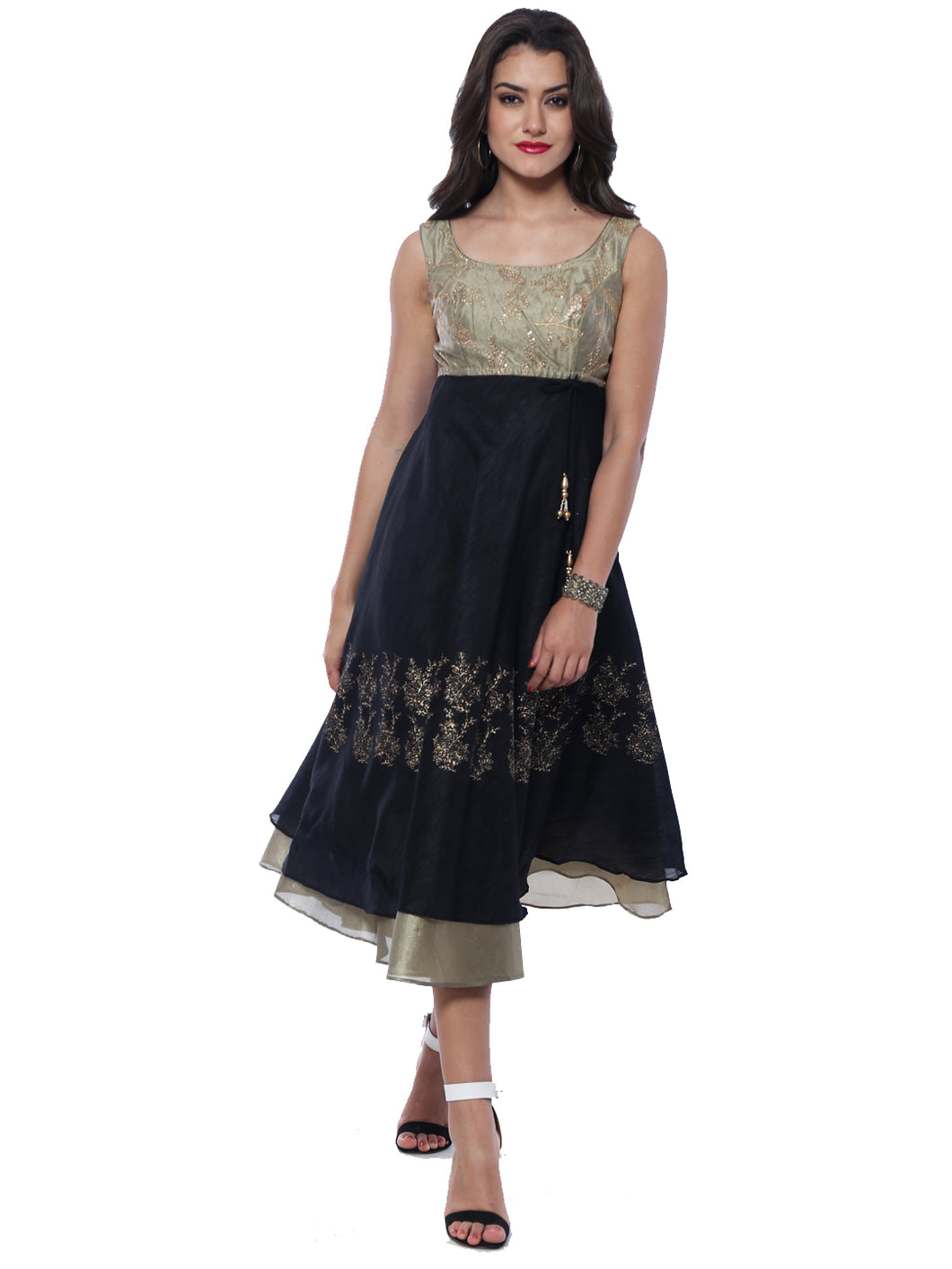 Embroidery Top And Gold Printed Skirt Anarkali