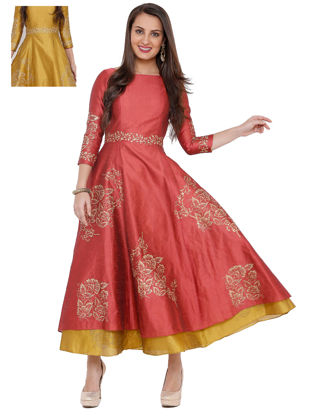 Reversible Pink And Yellow Anarkali With Side Zip And Gold Print
