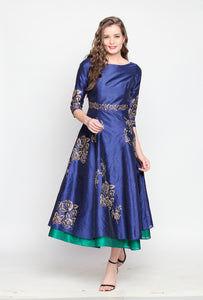 Reversible Anarkali With One Side Blue Printed And One Side Green Plain Side Metal Zip