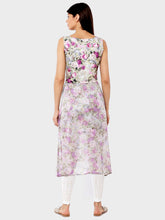 Load image into Gallery viewer, All Over Digital Flower Printed Scuba And Chiffon High Low Kurti