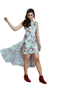 All Over Digital Flower Printed Scuba And Chiffon High Low Kurti