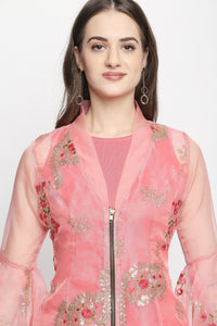 2 Piece All Over Embroidered Jacket And Matching Straight Kurti