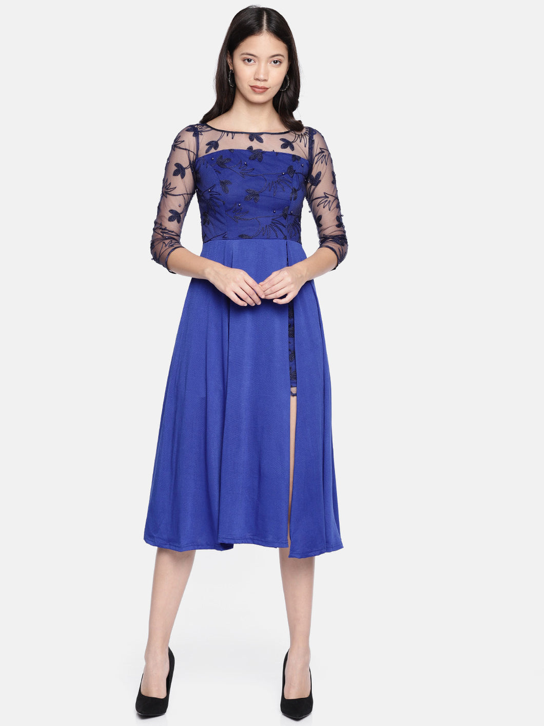 Lace Chiffon And Stretch Ity Long Anarkali With Side Slit