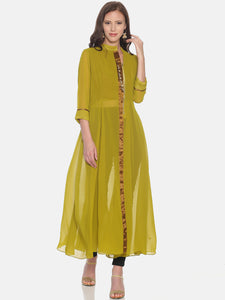 GEORGETTE LONG KURTI WITH GOLD METAL ZIP AND 3/4 SLEEVES