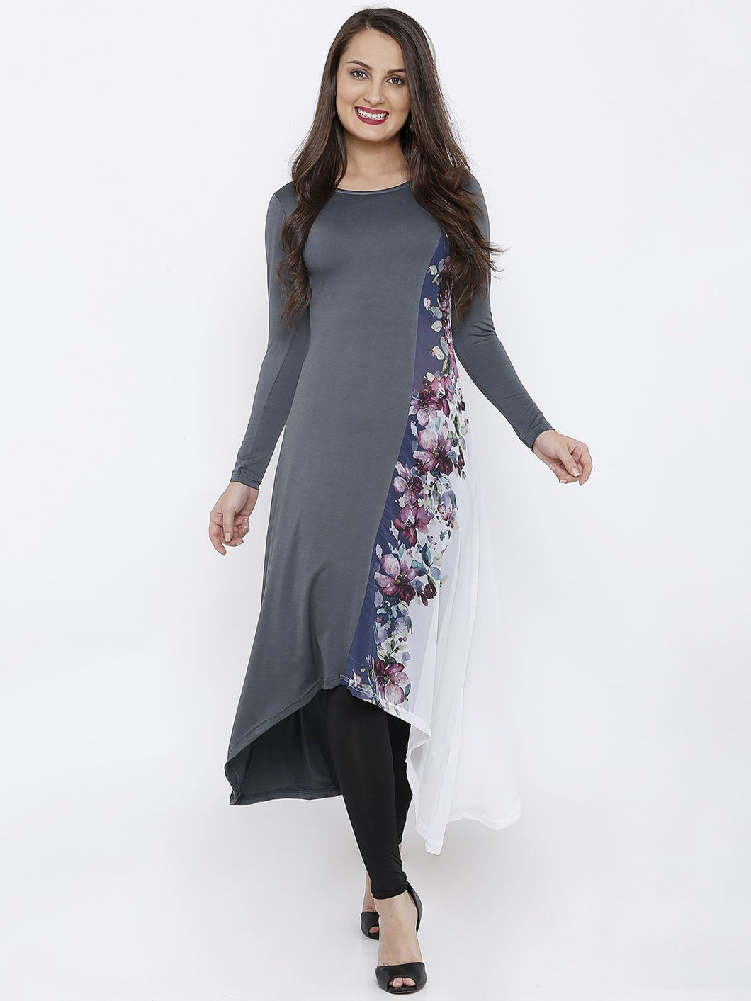 CUT AND SEW KNIT AND WOVEN GEORGETTE LONG KURTI WITH DIGITAL PRINT
