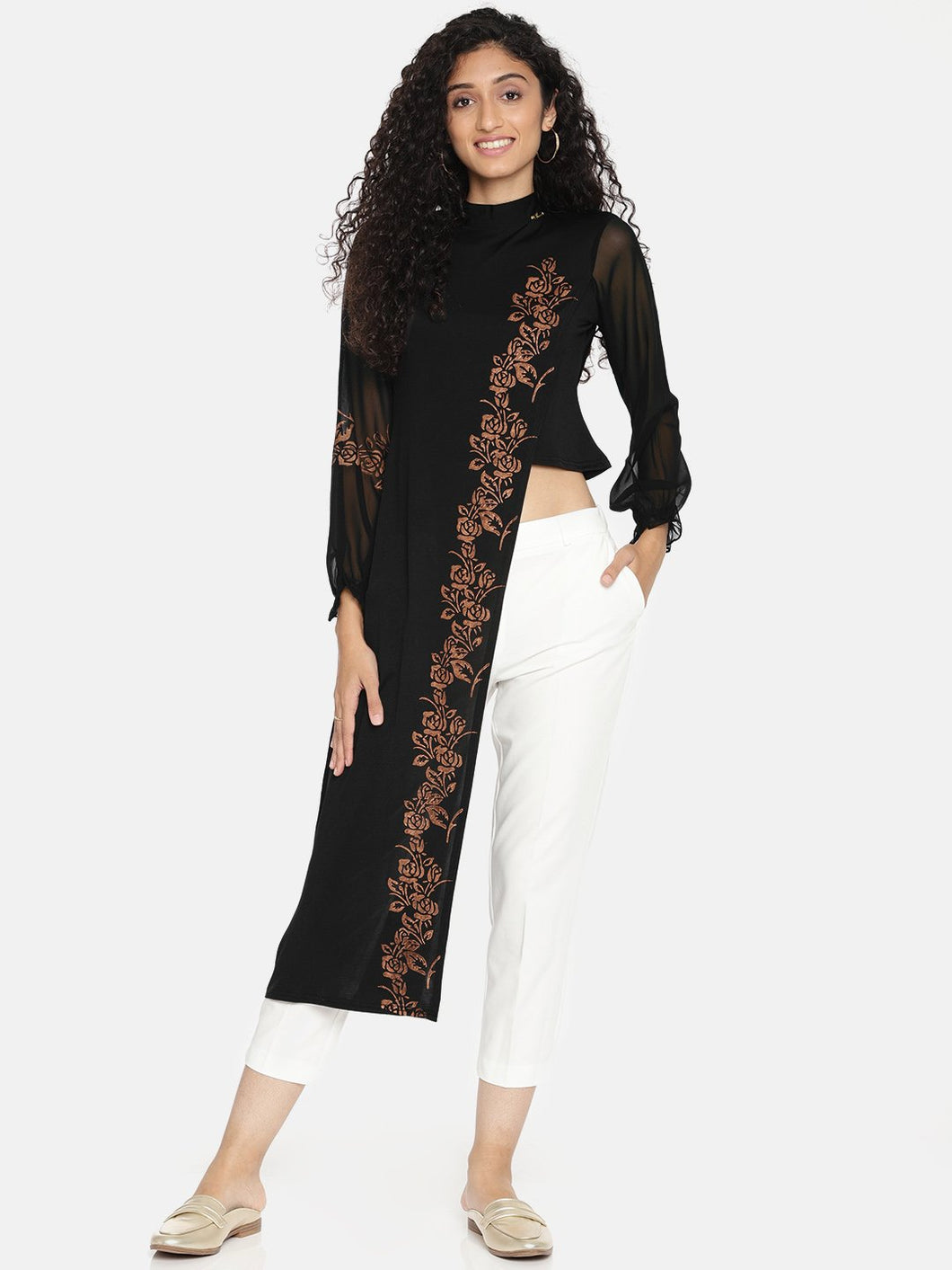 LONG FRONT SHORT BACK KURTI WITH PUFF LONG SLEEVES