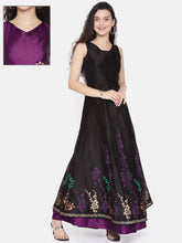 Load image into Gallery viewer, Reversible Anarkali With One Side Purple Printed And One Side Black Print Back Metal Zip