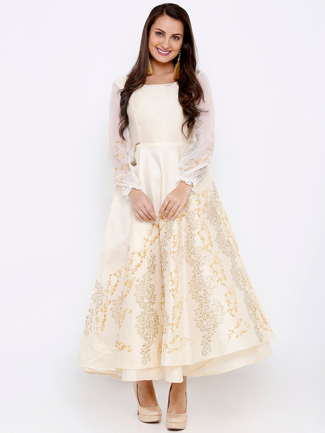 Flared offwhite and gold anarkali with georgette sleeves