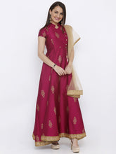 Load image into Gallery viewer, All over Gold Printed Analkali with Gold net Dupatta