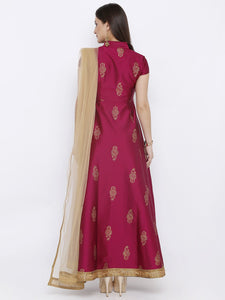 All over Gold Printed Analkali with Gold net Dupatta