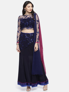 All Over Embroidery Net And Polyester Knit Combination Lehenga