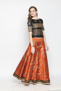 3 Piece Lehenga Set With Blouse Skirt And Dupatta And Back Detail