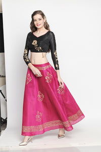 3 Piece Lehenga Set with Blouse Reversible skirt and Dupatta (one side black one side pink skirt)