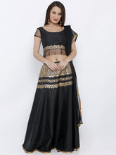 Load image into Gallery viewer, BLOUSE SKIRT AND DUPATTA LEHENGA SET WITH GOLD ENGINEERED PRINT