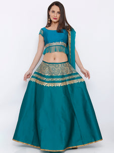 BLOUSE SKIRT AND DUPATTA LEHENGA SET WITH GOLD ENGINEERED PRINT