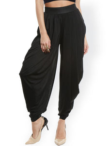 KNITTED PLEATED PATIALA - BLACK