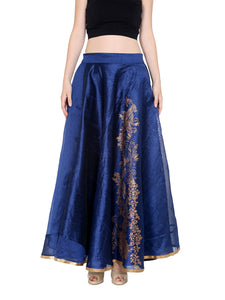 REVERSIBLE ENGINEERED GOLD PRINTED DUPION SKIRT (ONE SIDE PRINTED ONE SIDE PLAIN)