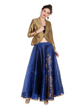 Load image into Gallery viewer, REVERSIBLE ENGINEERED GOLD PRINTED DUPION SKIRT (ONE SIDE PRINTED ONE SIDE PLAIN)