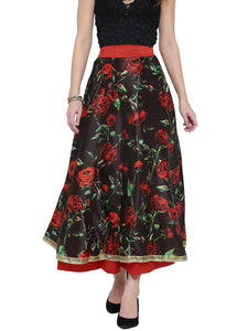 ALL OVER ROSE PRINTED REVERSIBLE SKIRT(ONE SIDE PRINTED ONE SIDE PLAIN)