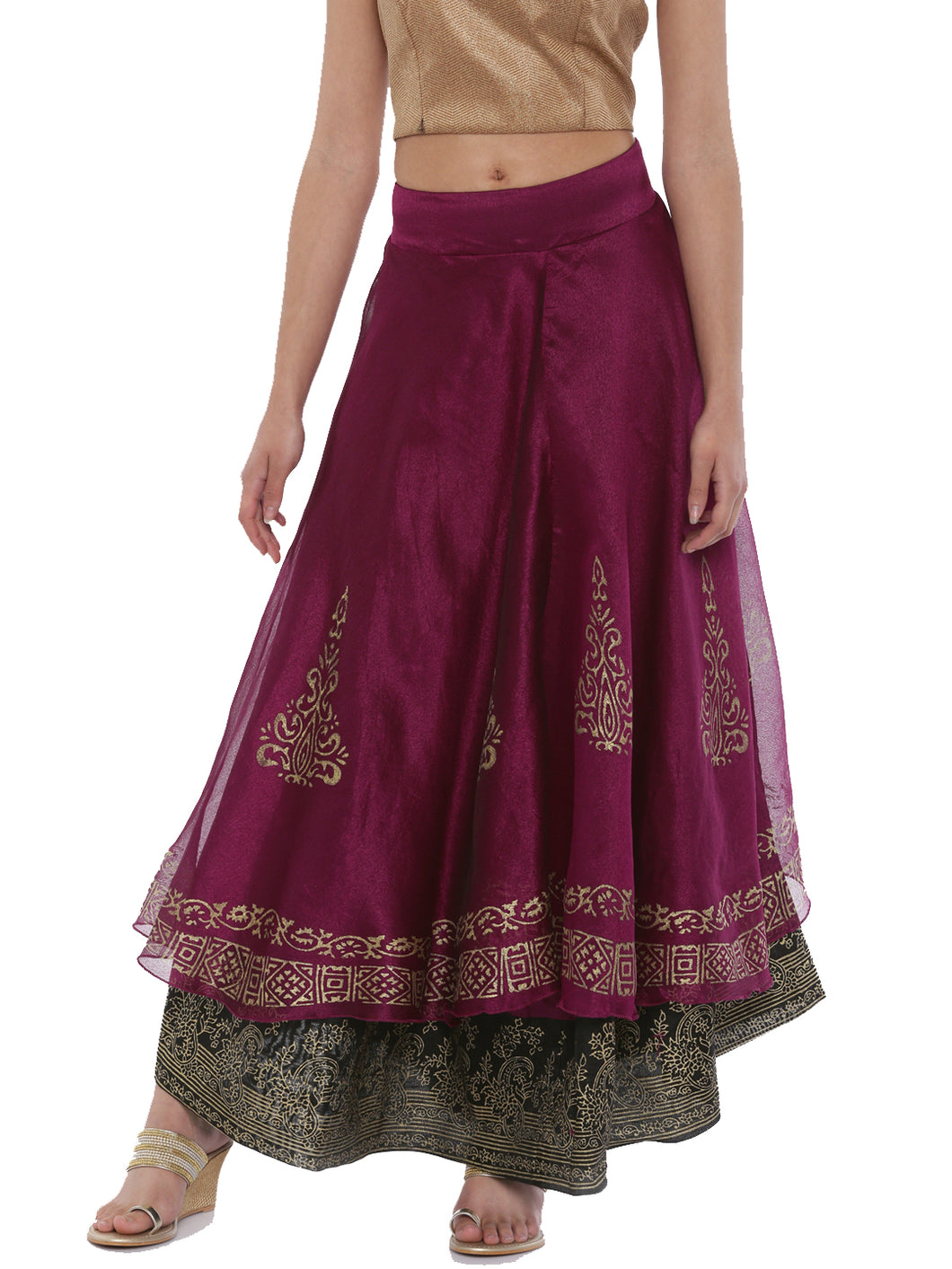 Double Layered Skirt In Tissue And Ity With Gold Print