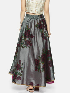 All Over Flower Printed Reversible Skirt (One Side Printed One Side Plain)