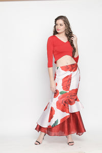 Reversible Fish Tail Skirt One Side Rose And One Side Plain Red