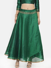 Load image into Gallery viewer, Reversible Skirt With Engineered Print (One Side Blue One Side Green)