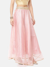Load image into Gallery viewer, Pink Tissue Skirt With Gold Lace Waist Band