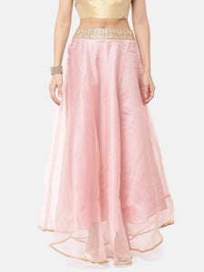 Pink Tissue Skirt With Gold Lace Waist Band