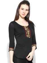 Load image into Gallery viewer, 3/4 Sleeve Top With Gold Lac On Centre Front And Sleeves