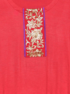3/4 Sleeve Top With Gold Lac On Centre Front And Sleeves