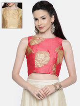 Load image into Gallery viewer, All Over Rose Printed Reversible Crop Top (One Side Printed One Side Plain) Full Open Metal Zipper On Back