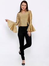 Load image into Gallery viewer, TAFET TOP WITH COLLAR AND FLARED BELL SLEEVES